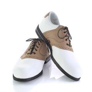 FJ FootJoy DryJoys White Brown Saddle Golf Shoes